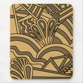 Brown and Tan Color Art Deco Style Design Mousepad