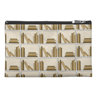 Brown and Tan Color Books on Shelf Travel Accessory Bag