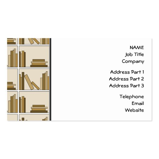 Brown and Tan Color Books on Shelf. Business Card Templates