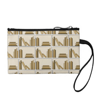 Brown and Tan Color Books on Shelf. Coin Purses