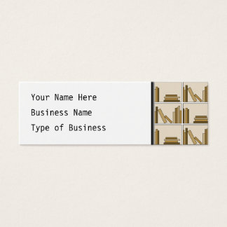 Brown and Tan Color Books on Shelf. Mini Business Card