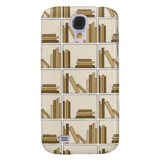 Brown and Tan Color Books on Shelf. Samsung Galaxy S4 Case