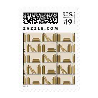 Brown and Tan Color Books on Shelf. Stamps
