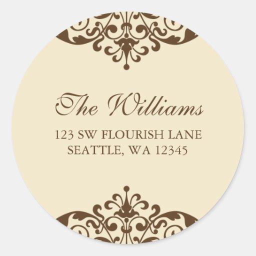 Brown and Tan Flourish Scroll Address Label Round Sticker