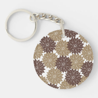 Brown and Tan Flower Blossoms Floral Print Keychain