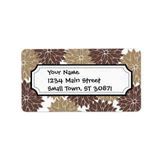 Brown and Tan Flower Blossoms Floral Print Personalized Address Labels