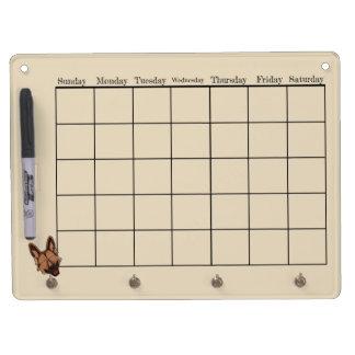 Brown and Tan German Shepherd Dog Calendar Dry Erase Board With Keychain Holder
