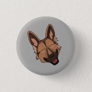 Brown and Tan German Shepherd Dog Smiling Pinback Button