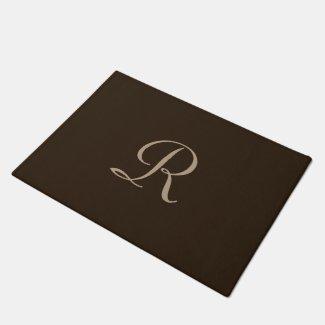 Brown and Tan Monogrammed Door Mat Doormat
