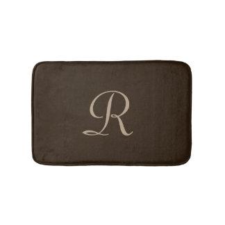 Brown and Tan Monogrammed Plush Bath Mat
