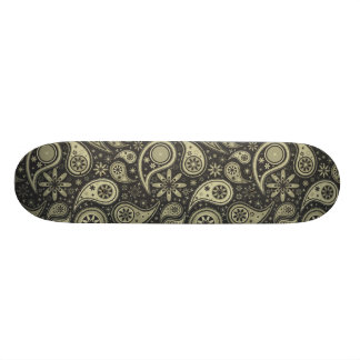 Brown and Tan Paisley Design Pattern Background Skateboard