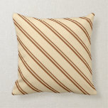 [ Thumbnail: Brown and Tan Pattern of Stripes Throw Pillow ]