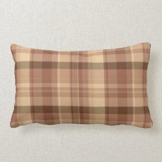 Brown and Tan Plaid Indoor Lumbar Pillow