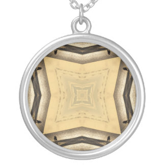 Brown and tan squares kaleidoscope necklace