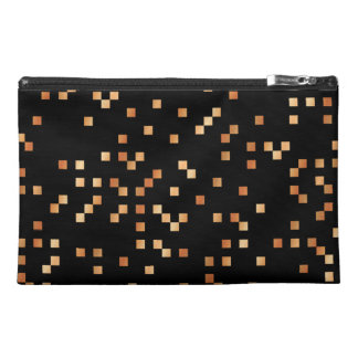 Brown and Tan Squares on Black Travel Accessories Bag
