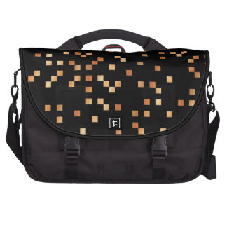 Brown and Tan Squares on Black Commuter Bags