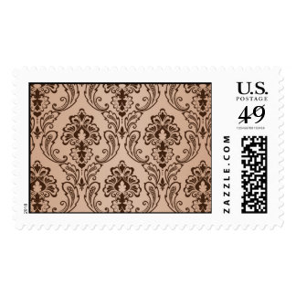 Brown and Taupe Damask Postage Stamp