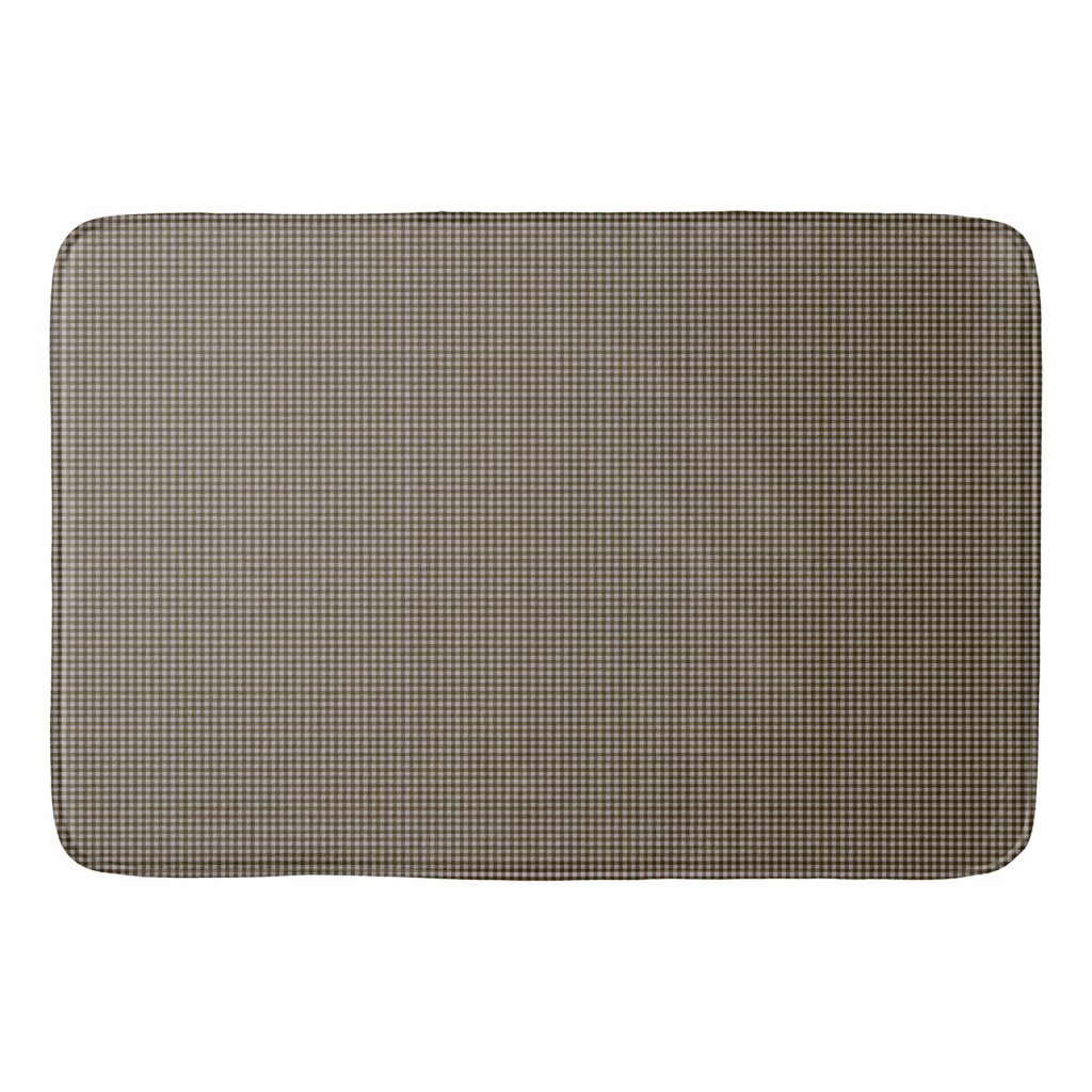 Brown and Taupe Gingham Check Print Bath Mat