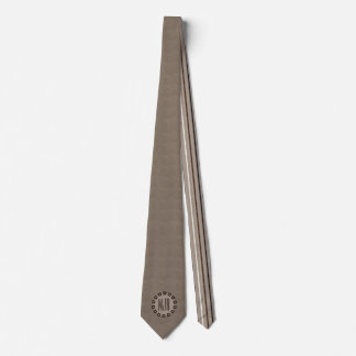 Brown and Taupe Leather Print   Monogrammed Tie