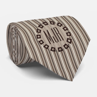 Brown and Taupe Pinstripes with Monogram Tie