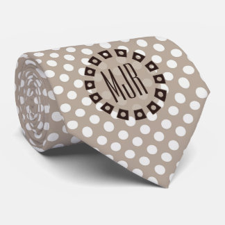 Brown and Taupe Polka Dot   Monogrammed Tie