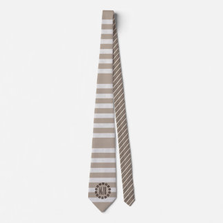 Brown and Taupe Stripes   Monogrammed Tie