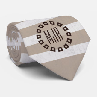 Brown and Taupe Stripes | Monogrammed Tie