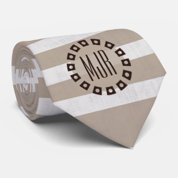 Beach Themed Brown and Taupe Stripes Monogrammed Tie