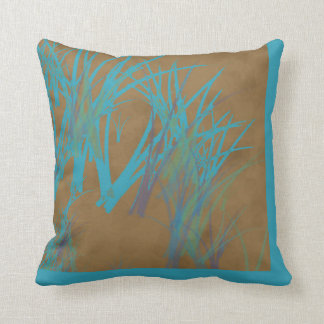 Brown and Teal Abstract Throw Pillow