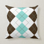 Brown and Teal Blue Checker Patterns Pillow