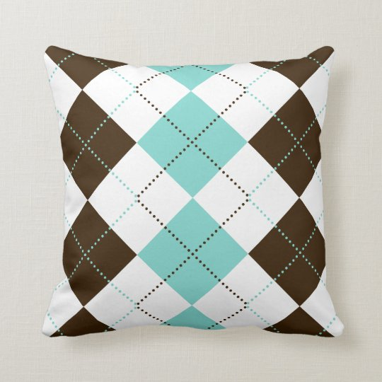 Brown and Teal Blue Checker Patterns Throw Pillow