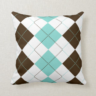 Brown and Teal Blue Checker Patterns Throw Pillows