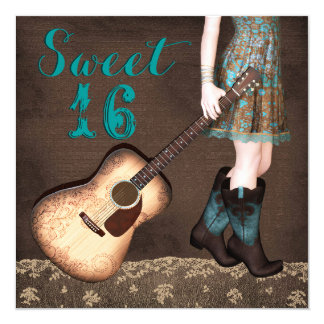 Brown and Teal Blue Cowgirl Sweet Sixteen Party Card