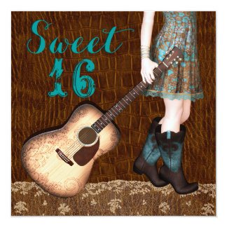 """Brown and Teal Blue Cowgirl Sweet Sixteen Party 5.25"""" Square Invitation Card"""