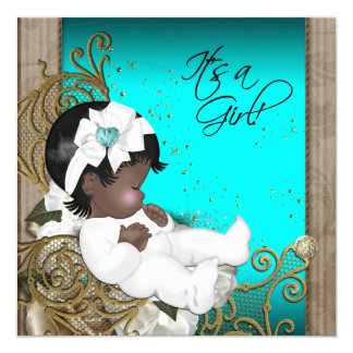 Brown and Teal Blue Ethnic Baby Girl Shower Card