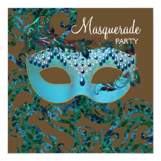 Brown and Teal Blue Masquerade Party Card