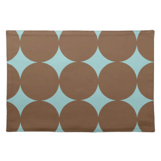 Brown and Teal Blue Polka Dots Placemat