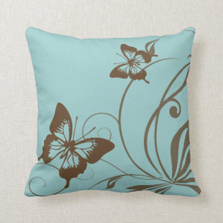 Brown and Teal Butterfly Throw Pillow