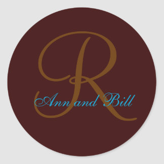 Brown and Teal First Name and Last Initial Seal Round Stickers