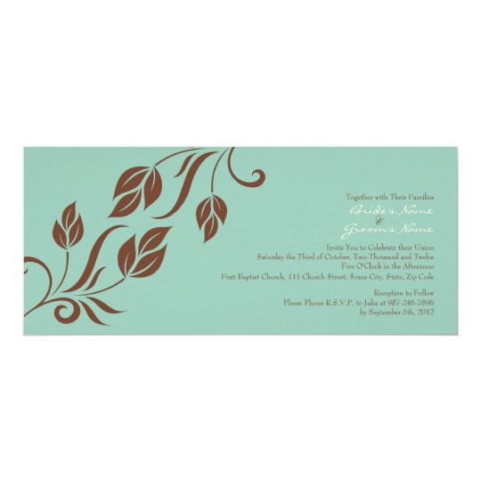 Brown and Teal Floral Leaves Wedding Invitation