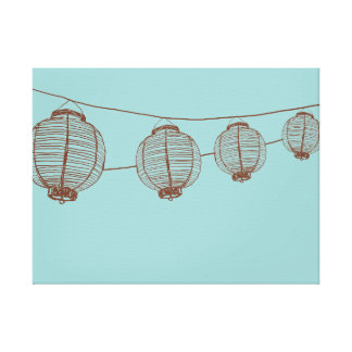 Brown and Teal Japanese Lanterns Canvas Print