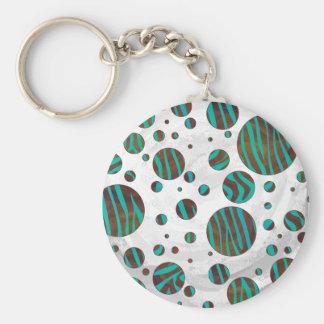 Brown and Teal Polka Dot Zebra Basic Round Button Keychain