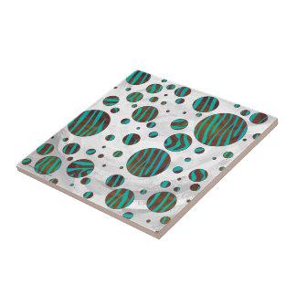 Brown and Teal Polka Dot Zebra Ceramic Tile