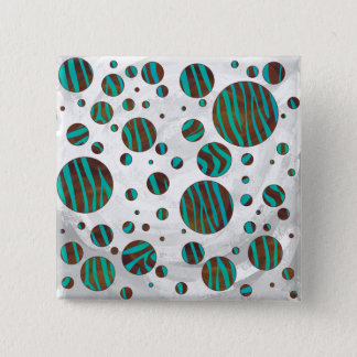 Brown and Teal Polka Dot Zebra Pinback Button