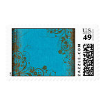 Brown And Teal Postage Stamps