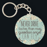 "Brown and Teal Retro Guardian Angel Keychain<br><div class=""desc"">&quot;Never drive faster than your guardian angel can fly.&quot;</div>"