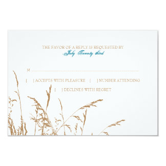 Brown and Teal Sea Grass Beach Wedding rsvp Card