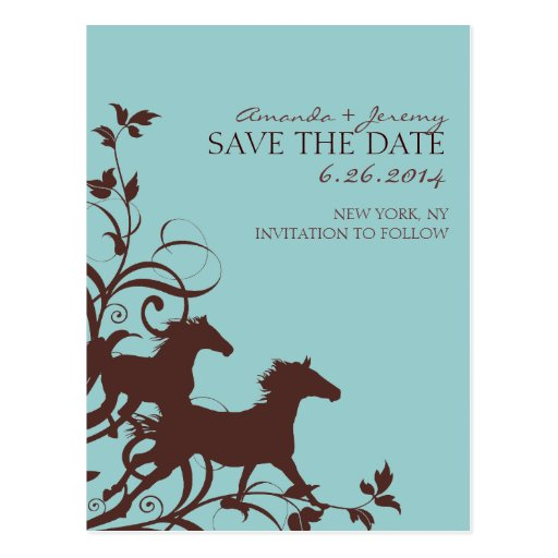 Brown and Teal Wild Horses  Save the Date Postcard
