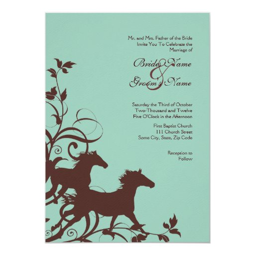 Brown and Teal Wild Horses Wedding Invitation