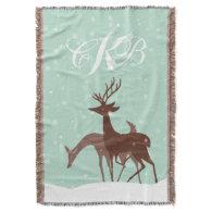 Brown and Teal Winter Deer in Snow Throw Blanket